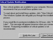 Screenshot of the Critical Update Notification tool in Windows 98.