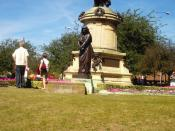 English: The Gower Memorial, shows Lady MacBeth and William Shakespeare in Bancroft gardens, Stratford-Upon-Avon