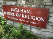 English: Earlham School or Religion sign.
