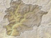 Blank physical map of Andorra with parishes boundaries for geo-location purpose. Note: Dotted lines are boundaries estimated from very small scale reference maps.