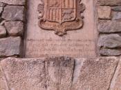 The old coat of arms of Andorra at Casa de la Vall, parliament, in Andorra la Vella, the capital city of the country.