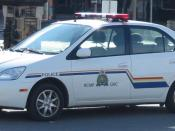 A Royal Canadian Mounted Police Toyota Prius school liaison car in Ottawa, Ontario, Canada.