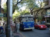 English: Trolleybus in Mendoza, Argentina Русский: Троллейбус в Мендозе, Аргентина