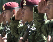 Mexican army members salute during a ceremony honoring the 201st Fighter Squadron at Chapultepec Park in Mexico City, Mexico.