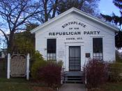 English: A photograph of the Little White Schoolhouse of Ripon, claimed birthplace of the U.S. Republican Party (i.e. the site of one of the first meetings of the general
