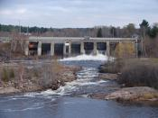 Power dam on the Sturgeon River in Sturgeon Falls, Ontario, Canada.