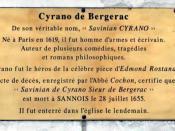Plaque commémorative de Cyrano de Bergerac à Sannois - Val-d'Oise (France)