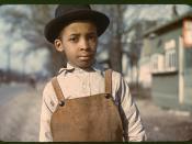 An African American boy outside of Cincinnati, Ohio in the 1940s