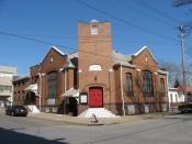English: First Christian Church (Disciples of Christ), located at 1401 Sixth Avenue in Beaver Falls, , .