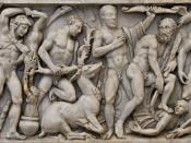 Front panel from a sarcophagus with the Labours of Heracles: from left to right, the Nemean Lion, the Lernaean Hydra, the Erymanthian Boar, the Ceryneian Hind, the Stymphalian birds, the Girdle of Hippolyte, the Augean stables, the Cretan Bull and the Mar