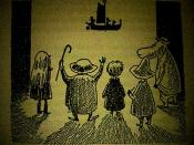 One of Jansson's illustrations from the book, depicting (from left to right), Mymble, Grandpa-Grumble, Toft, Snufkin and the Hemulen watching the Fillyjonk's shadow puppet show.