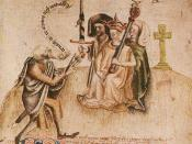 Alexander III hears his genealogy; late medieval illustration of the Scotichronicon.
