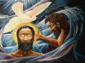 Baptism of Christ. Jesus is baptized in the Jordan River by John.