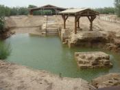 The supposed location where John baptized Jesus Christ East of the River Jordan.