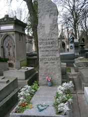 Guillaume Apollinaire grave in the Père Lachaise cemetery in Paris