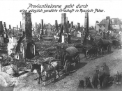 English: German Army in destroyed Polish locality during World War I