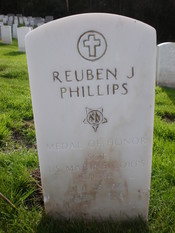 The headstone of Sgt. Reuben J. Phillips, Medal of Honor recipient, at San Francisco National Cemetery in the Presidio of San Francisco.
