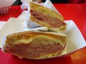A Reuben sandwich at the Civic Center in San Francisco.