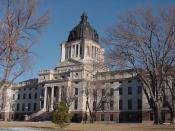 The South Dakota State Capitol building near the Missouri River in downtown Pierre.