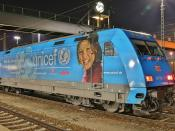 101 016 (DB class 101) with UNICEF ads at Ingolstadt main station
