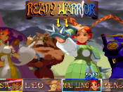 The character select screen, from left to right: Tessa, Leo, Mai-Ling and Kenji