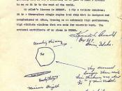 The letter with a drawing of flying saucers or flying disks submitted by pilot Kenneth Arnold to Army Air Force intelligence on July 12, 1947. Source: http://obscurantist.com/oma/arnold_kenneth