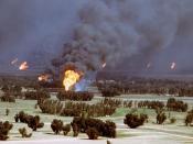 Von Irakern angezündete Ölförderanlagen in Kuwait im März 1991 gemeinfrei