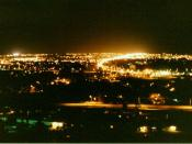 Great Falls, Montana, at night, looking east from the airport