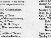 This is a partial scan of the list of Texans killed at the Battle of the Alamo, as published in the Telegraph and Texas Register on Thursday, March 24, 1836 in San Felipe, Texas. Vol. 1, No. 21, Ed. 1. At the time, Texas had declared its independence from