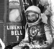 English: Astronaut Virgil I. Grissom prepares to enter the Liberty Bell 7 spacecraft prior to his successful mph (0 km/h) space ride. He reached an altitude of miles (0 km). This was the second man-in-space flight for the U.S. in its series of suborbital