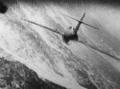 Gun camera photo of a Mikoyan Gurevich MiG-15 being attacked by U.S. Air Force North American F-86 Sabre over Korea in 1952-53, piloted by Capt. Manuel