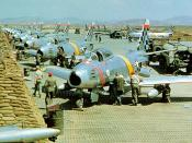 U.S. Air Force North American F-86 Sabre fighters from the 51st Fighter Interceptor Wing Checkertails are readied for combat during the Korean War at Suwon Air Base, South Korea.