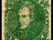 English: Confederate Postage stamp, Andrew Jackson, 1862 issue, 2c, green