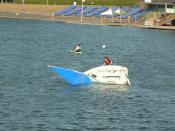 English: Learning the hard way Righting your dinghy after a capsize is an essential skill for young sailors to learn.