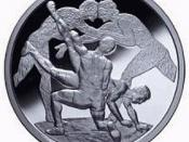 Motif on a Greek commemorative coin. A waist-hold is applied to a wrestler in preparation of throwing him down to the ground. In the background, two ancient athletes are pictured in a stance known as akrocheirismos (finger-hold) with their heads pushing a