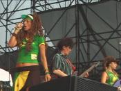 English: Ari Up, Tessa Pollitt, and Adele Wilson of The Slits, performing at McCarren Park Pool, NYC, on Jul 28 2007. Video still from PUNKCAST#1184.