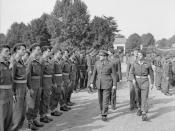 English: Brigadier Mike Calvert, Commandant SAS Brigade, at the ceremony marking the passing of 3 and 4 SAS (2 and 3 Regiment de Chasseurs Parachutistes) from the British to the French Army at Tarbes in southern France.