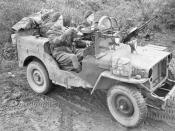 English: Operation Clipper. A jeep manned by Sergeant A Schofield and Trooper O Jeavons of 1 SAS near Geilenkirchen in Germany. The jeep is armed with three Vickers 'K' guns, and fitted with armoured glass shields in place of a windscreen. The SAS were in