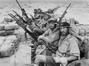 English: Title: THE SPECIAL AIR SERVICE (SAS) IN NORTH AFRICA DURING THE SECOND WORLD WAR : A close-up of a heavily armed patrol of 'L' Detachment SAS in their Jeeps, just back from a three month patrol. The crews of the jeeps are all wearing 'Arab-style'