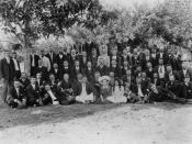 English: Early society in Bowen, ca. 1914 One of the early societies in Bowen, probably the Hibernians. (Description supplied with photograph).