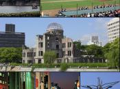 English: Hiroshima City, JAPAN From top left:Hiroshima Castle, Baseball game of Hiroshima Toyo Carp in Hiroshima Municipal Baseball Stadium, Hiroshima Peace Memorial (Atomic Bomb Dome), Night view of Ebisu-cho, Children's Peace Monument 日本語: 広島県広島市 画像左上から
