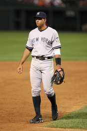 Alex Rodriguez in the field for a game on May 28, 2008.