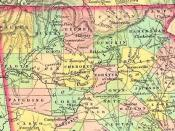 1834 map of counties created from Cherokee land. Cumming is shown in the middle of Forsyth County