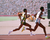 English: Owen Hamilton represents Jamaica in the 800 meter track and field team event at the 1984 Summer Olympics.