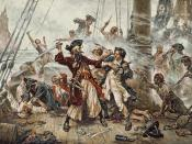 Capture of the Pirate, Blackbeard, 1718 depicting the battle between Blackbeard the Pirate and Lieutenant Maynard in Ocracoke Bay