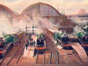 Scans from a book of 1928, on railways. The Morning Rush from King's Cross to the North 10:15am Leeds Express 10:5am Scotch Express 10:0am Non-Stop 'Flying Scotsman' 10:20am Peterborough