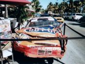 A few weeks ago they had the Flintstones Movie Treebird car. Today it was Jeff Gordons car that was banged up.
