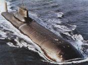 English: Typhoon class submarine at sea.
