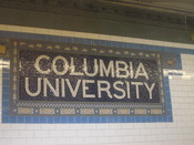 English: Columbia University sign in subway station in NYC