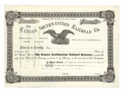 English: The Kansas Southwestern Railroad Co. THE KANSAS SOUTHWESTERN RAILROAD CO. 18--, Kansas. Unissued stock certificate. Black / White. Vignette of an eagle grasping a shield, arrows a crown of laurels at top center. Ornate border.